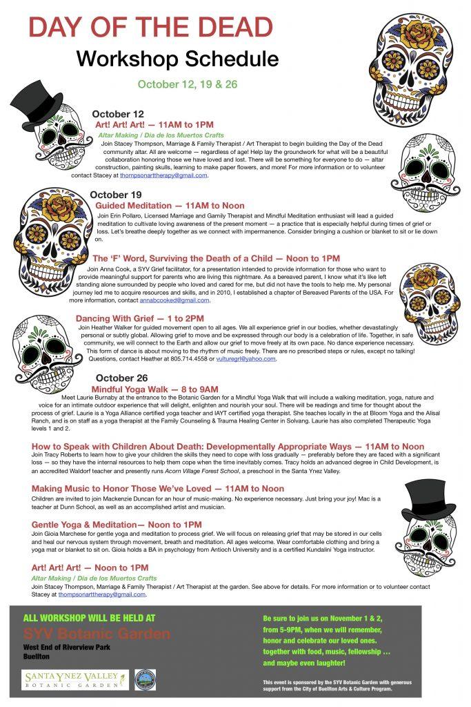 SYV Botanic Garden Day of the Dead Workshops